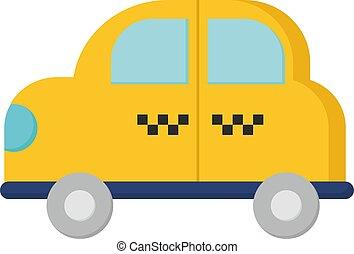 jaune, illustration, blanc, taxi, vecteur, arrière-plan.