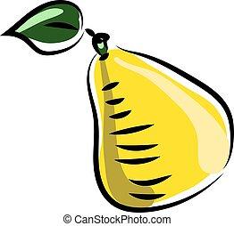 jaune, illustration, poire, blanc, vecteur, arrière-plan.