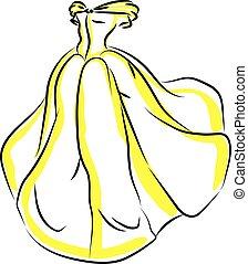 jaune, illustration, robe blanche, vecteur, arrière-plan.