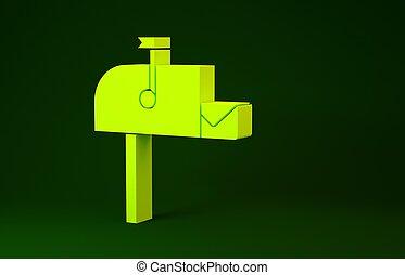 jaune, isolé, illustration, minimalisme, arrière-plan., ouvert, boîte lettres, vert, 3d, render, poteau, boîte, postbox, icône, icon., courrier, concept., flag.