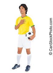 jaune, joueur, boule football
