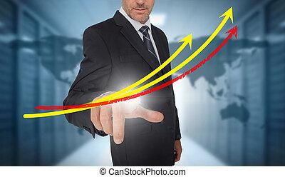 jaune, lignes, fond, centre, mondiale, données, homme affaires, croissance, carte, rouges, toucher