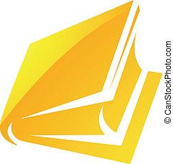 jaune, lustré, livre, icône