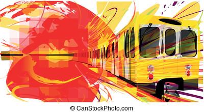 jaune, métro, fond
