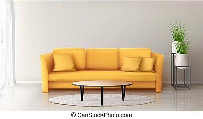 jaune, moderne, intérieur, sofa