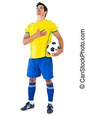 jaune, motet, boule football, joueur, écoute