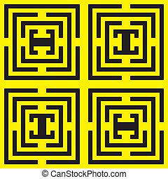 jaune, noir, asymetrical, labirinth, spyral, x4
