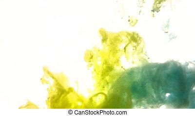 jaune, ou, eau bleue, peinture, encre, acrylique