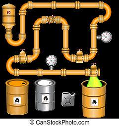 jaune, pipeline, fond
