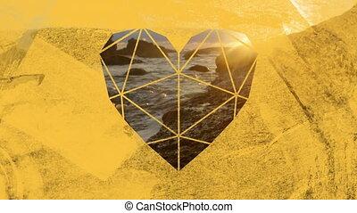 jaune, premier plan, mer, rochers, littoral, coeur, par, ...