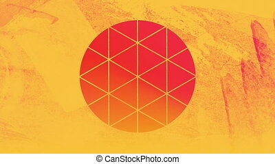 jaune, premier plan, rose, circulaire, par, orange, formé, ...