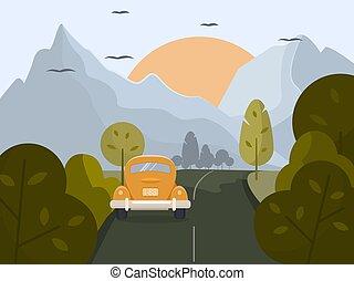jaune, promenades, road., été, petit, paysage., voiture, long, rural