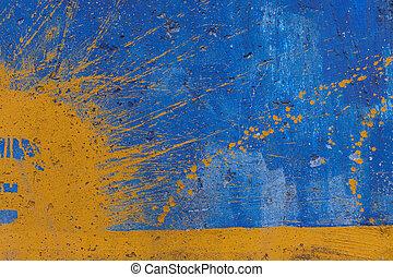 jaune, pulvérisation, sur, bleu, mur peint