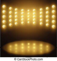 jaune, résumé, lumières, vecteur, étincelant, fond, étape