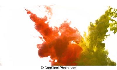 jaune rouge, sous-marin, ou, peinture, encre, acrylique,...