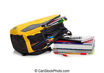 jaune, sac à dos, à, approvisionnements école