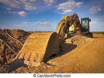 jaune, sale, excavateur