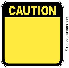 jaune, signe prudence, gauche, vide, à, salle, pour, ton,...