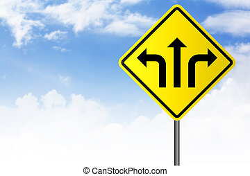 jaune, signe rue, à, direction, flèches