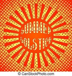 jaune, solstice., stylisé, style., pop, rays., été, soleil, concept, rouges, art