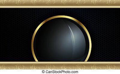 jaune, sombre, beau, mosaïque, rond, frontière, rideaux, cadre, conception, textured, or