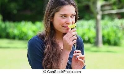 jaune, tenue, brunette, femme, fleur