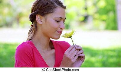 jaune, tenue, brunette, femme, fleur, heureux