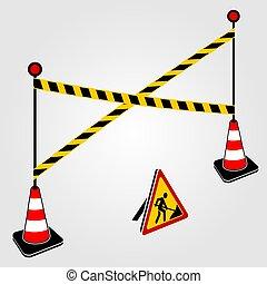 jaune, trafic, ribbons., sous, conception, concept, construction, cônes