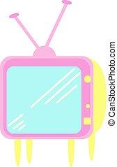 jaune, tv, illustration, blanc, vecteur, arrière-plan.