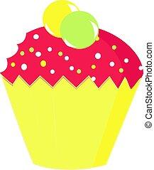 jaune, vecteur, petit gâteau, blanc, illustration, arrière-plan.