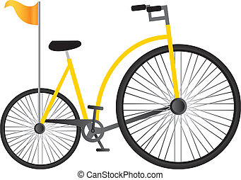 jaune, vieille bicyclette
