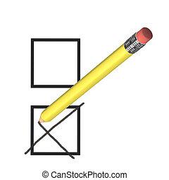 jaune, vote, concept, crayon