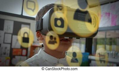 jaune, vr, homme, animation, porter, icône, casque à écouteurs