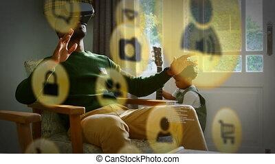 jaune, vr, homme, porter, icône, casque à écouteurs
