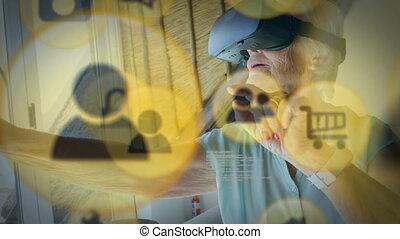 jaune, vr, personne agee, porter, icône, casque à écouteurs, femme