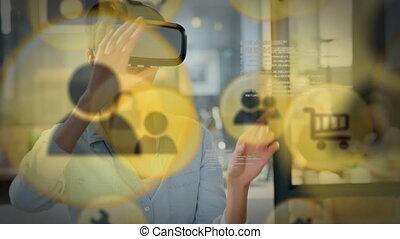 jaune, vr, porter, icône, casque à écouteurs, femme