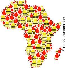jaunes, mapa, protests, colagem, áfrica, gilet