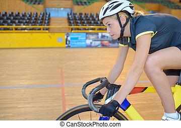 javítás, alatt, bicikli fut