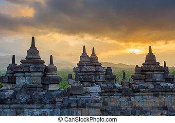 java, borobudur, indonésie, temple, levers de soleil