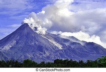 java, c., indonesia, -, monte., merapi