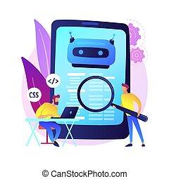 Java developer. Smartphone software. Javascript coding, writing application, css programming. Html source code tampering. Mobile program. Vector isolated concept metaphor illustration.