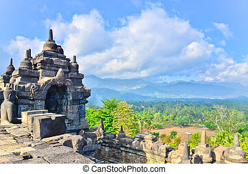 java, indonésia, borobudur, local, detalhes, herança, unesco