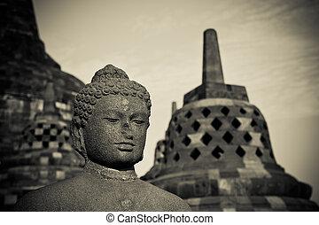 java, indonesia, borobudur, budda, statua, tempio