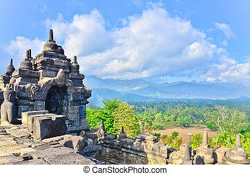 java, indonesie, borobudur, bouwterrein, details, erfenis,...