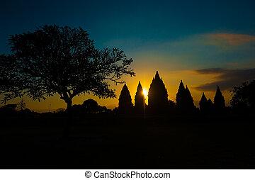 java, indonesie, tempel, ondergaande zon , prambanan