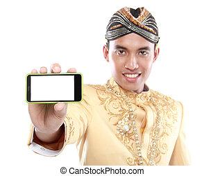java, móvil, tradicional, teléfono, traje, utilizar, hombre