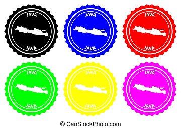 Java - rubber stamp - vector, Java map pattern - sticker -...