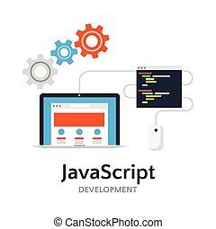 Java Script flat vector illustration
