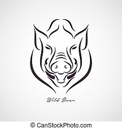 javali selvagem, vetorial, logotipo
