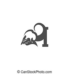 Javanese puppet icon with letter logo design vector